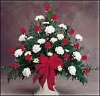 Red and White One-Sided Arrangement from Fields Flowers in Ashland, KY